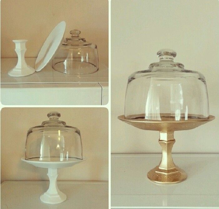 Diy Cake Stand Wedding Ideas: DIY Cake Stand From A Glass Plate And Glass Handle Holder