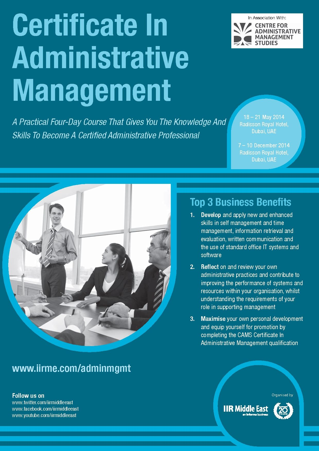 Certificate in Administrative Management - This is a practical course designed to increase delegates' understanding of the professional administrator in organisations. They will examine the different structures that organisations adopt and how these affect the system's procedures, culture and the people who work in organisations. - See more at: http://www.informa-mea.com/Training/adminmgmt
