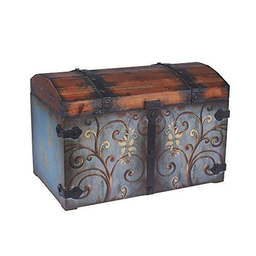 Multicolored Metal/Wood Large Storage Chest Metal Wood Box Trunk Organizer  New