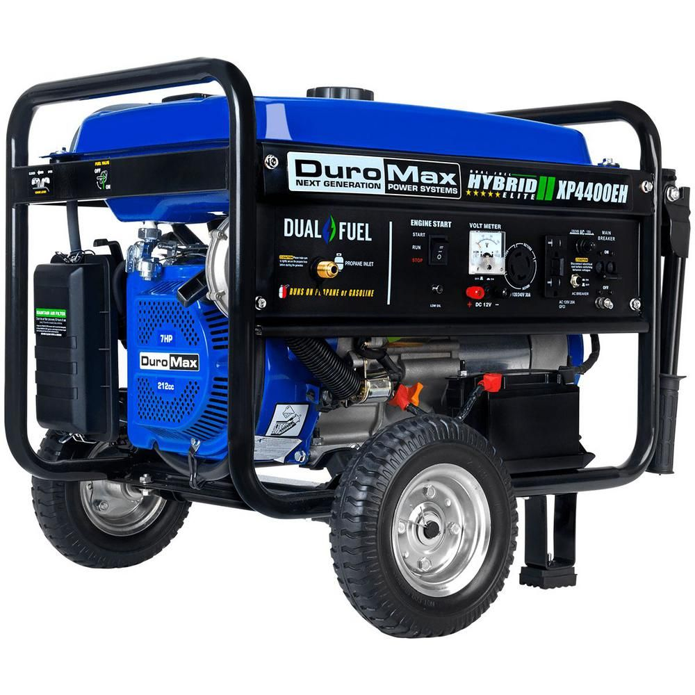 Duromax 3500 Watt Electric Start Dual Fuel Powered Portable Generator With Wheel Kit Xp4400eh The Home Depot In 2020 Dual Fuel Generator Portable Generator Best Portable Generator