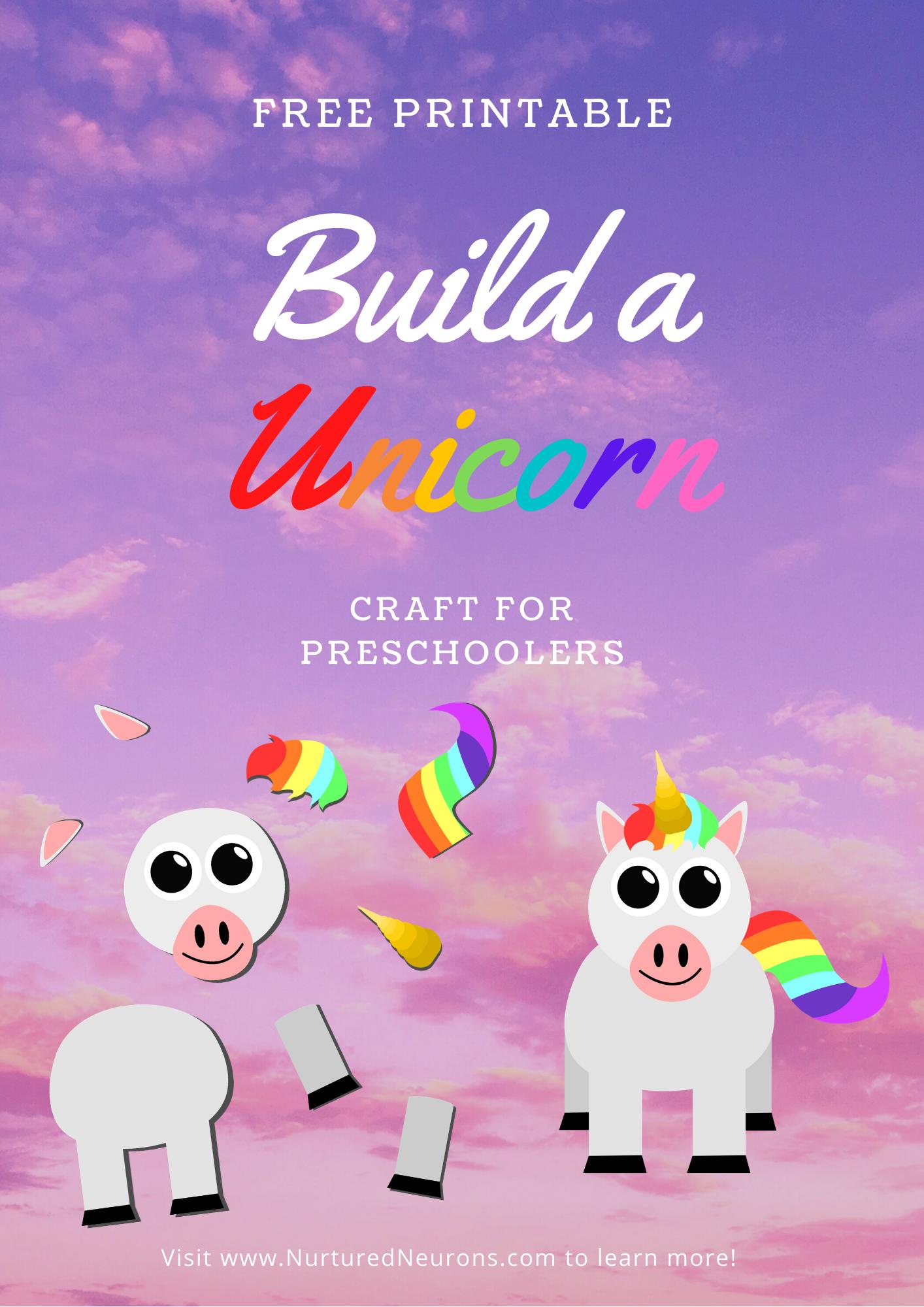Build A Unicorn Craft Cute Free Printable