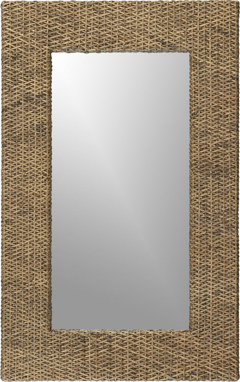 Woven Rattan Wall Mirror Crate And Barrel 30 W X 2 5 D X 48 H Handcrafted Eco Friendly Construction Solid Mahogany Fr Wood Mirror Mirror Gallery Mirror Wall