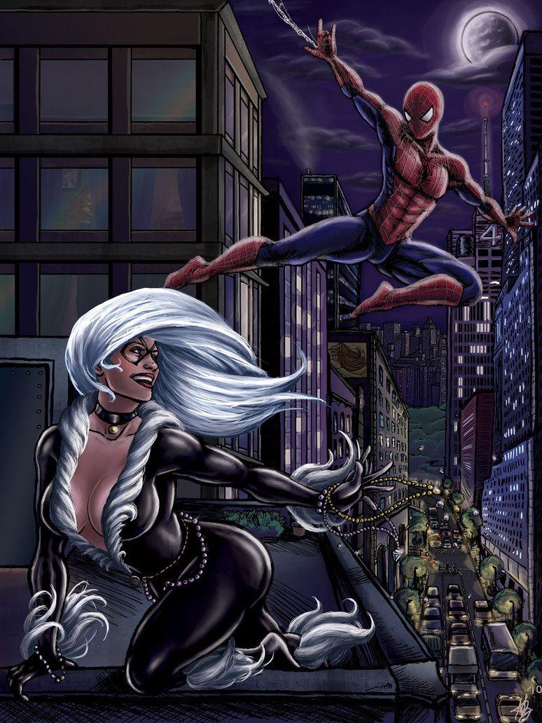 Картинки человек паук и черная кошка любовь
