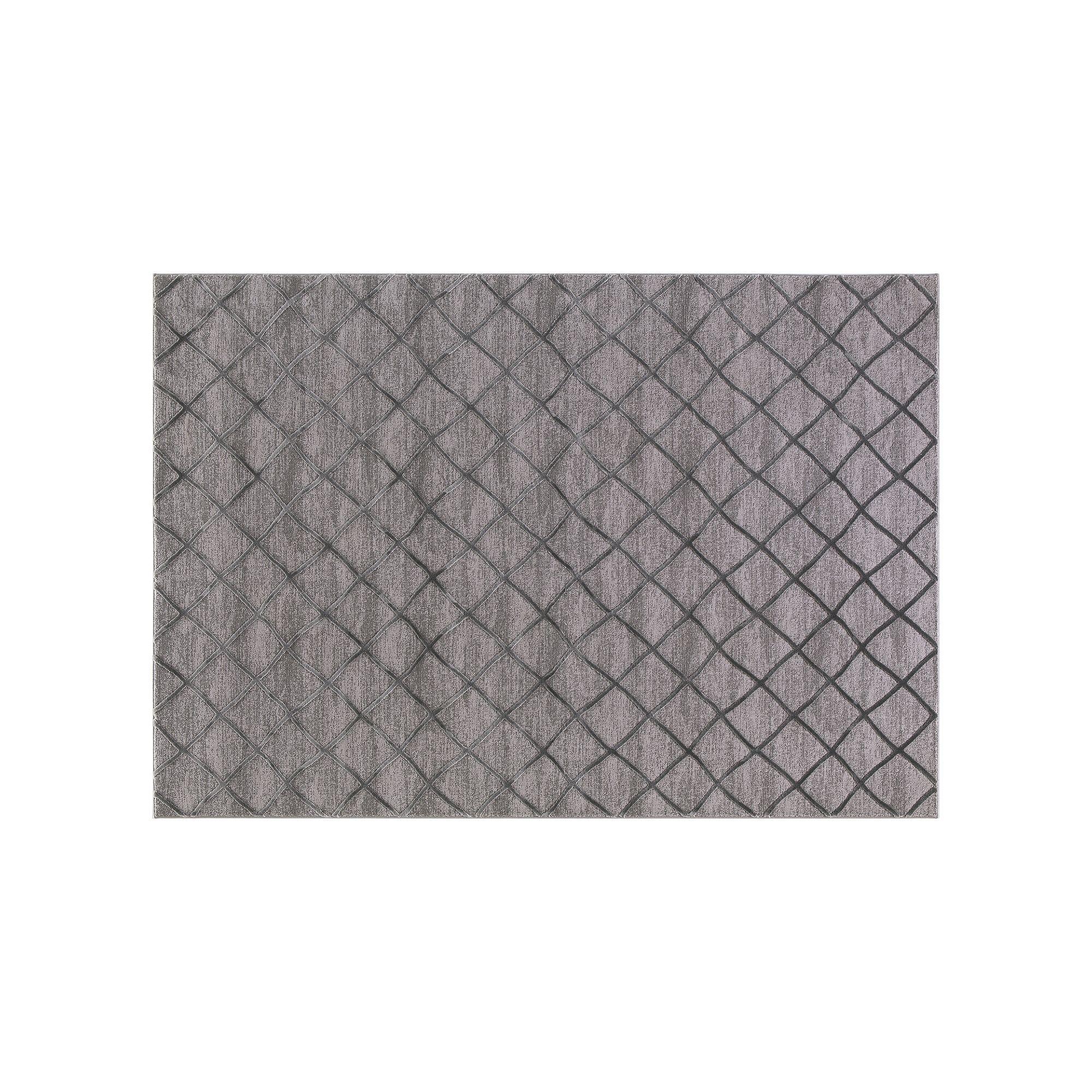 Best Concord Global Thema Teo Lattice Rug Grey Durable Rugs 400 x 300