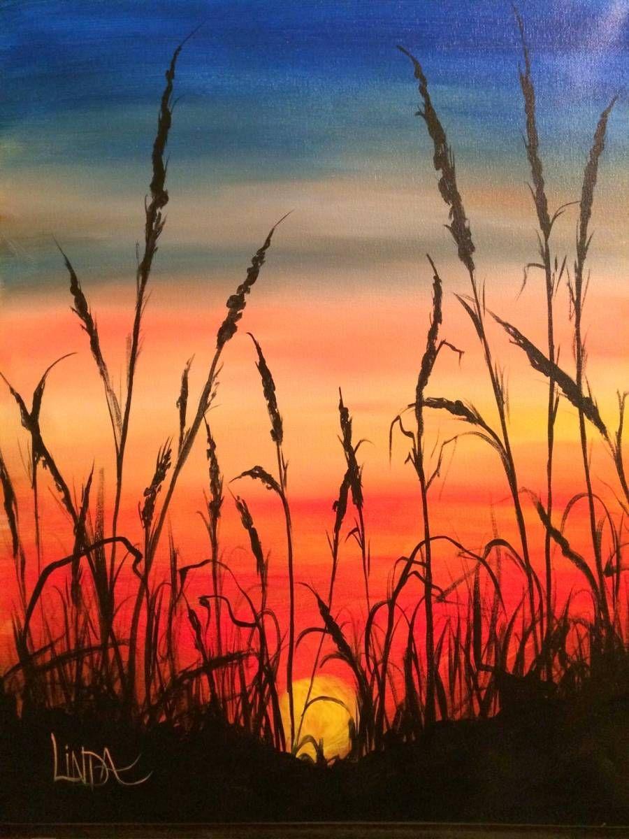 Рисунок заката гуашью