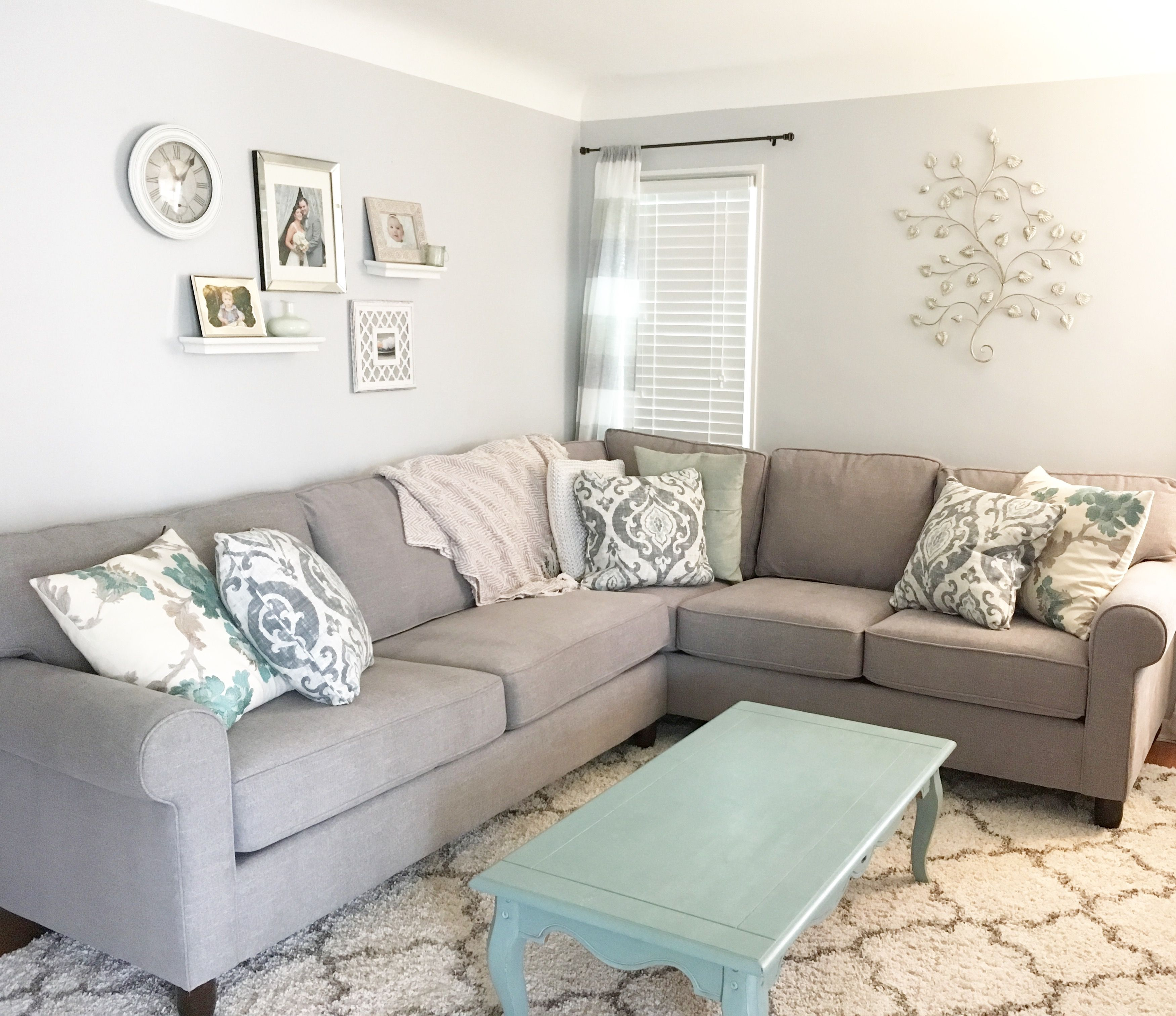 Grey Couch And Soft Aqua Hues Living Room With Images Living