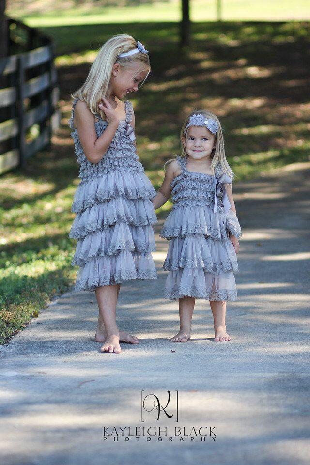 b3f3a4990 Gray Chiffon Girls Dress- Flower Girl Dresses- Cream dress- Lace dress-  Rustic