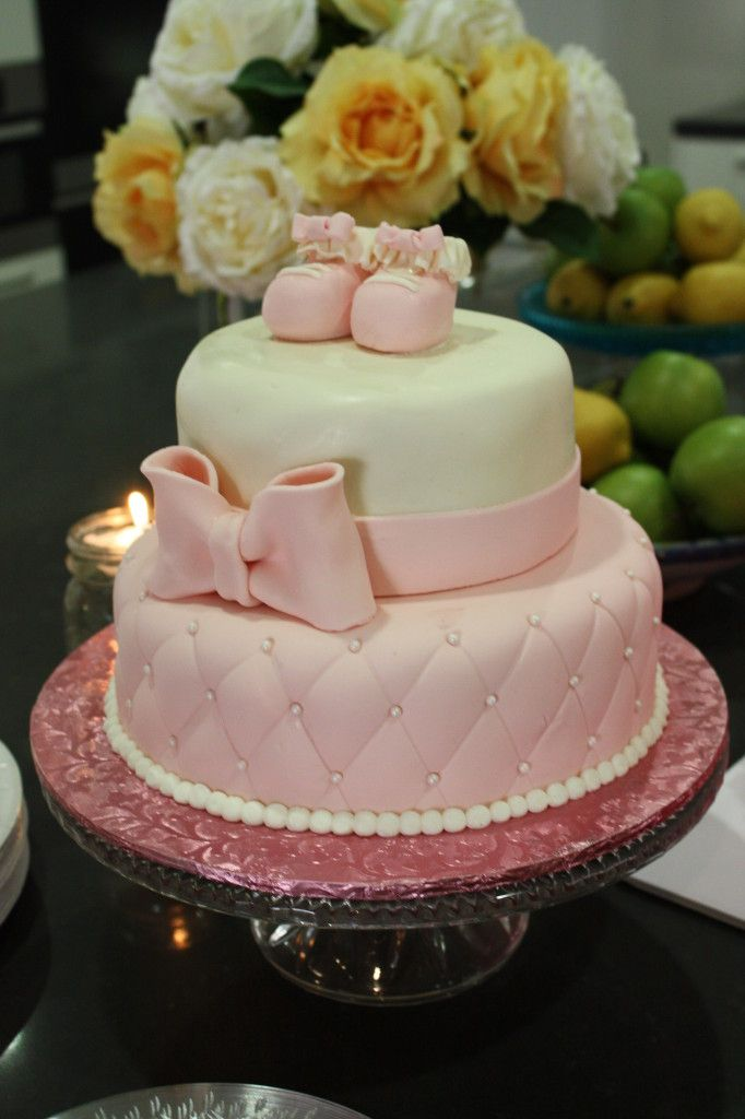 Pink and White Baby Shower Cake (with baby shoes on top - too sweet!)
