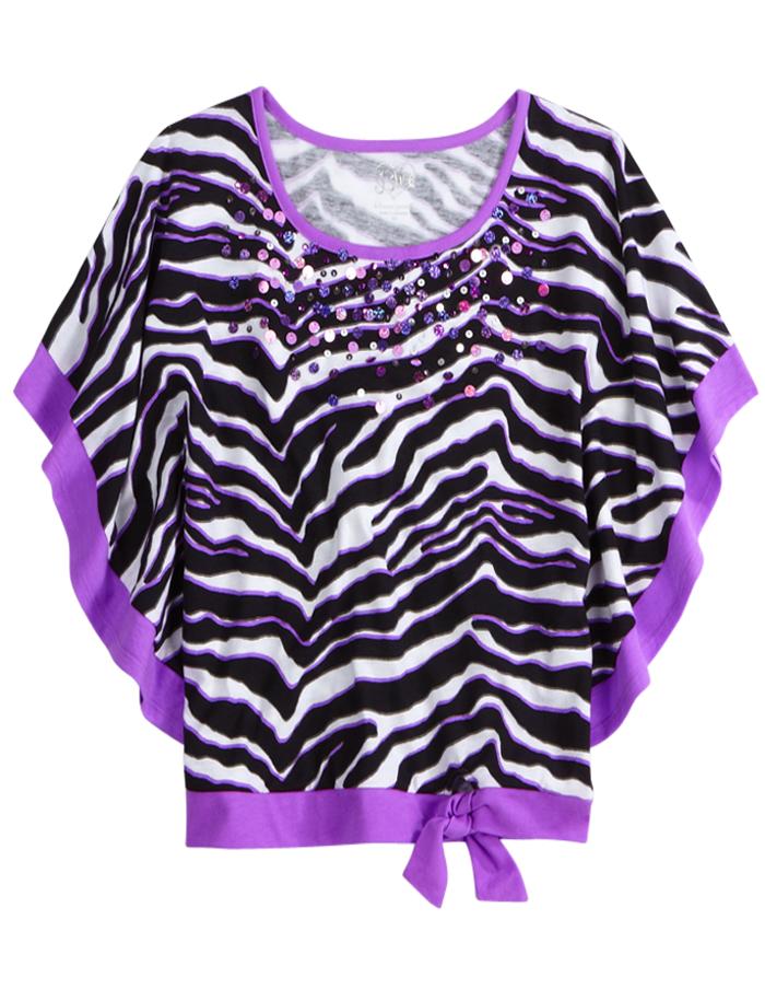 Embellished Animal Print Flowy Sleeve Top Short Sleeve Tops Tees Shop Justice Justice Girls Clothes Girls Fashion Clothes Justice Clothing