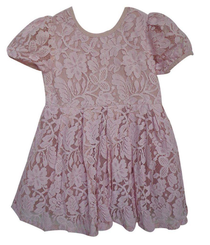 Lace dress pink  Popatu Little Girlus Dusty Pink Lace Dress  Sage Clothing  Pinterest