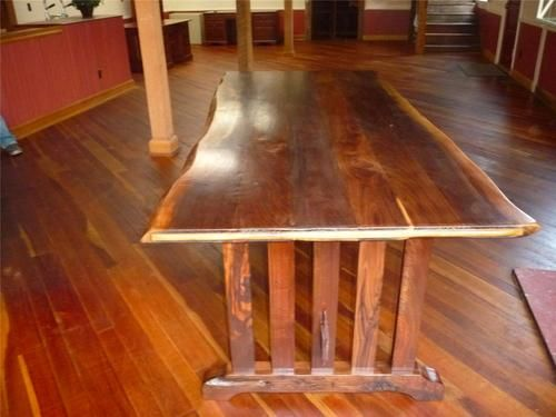 Trestle Style Conference Table Walnut Slab Waned Edge Hand Pegged - Ebay conference table