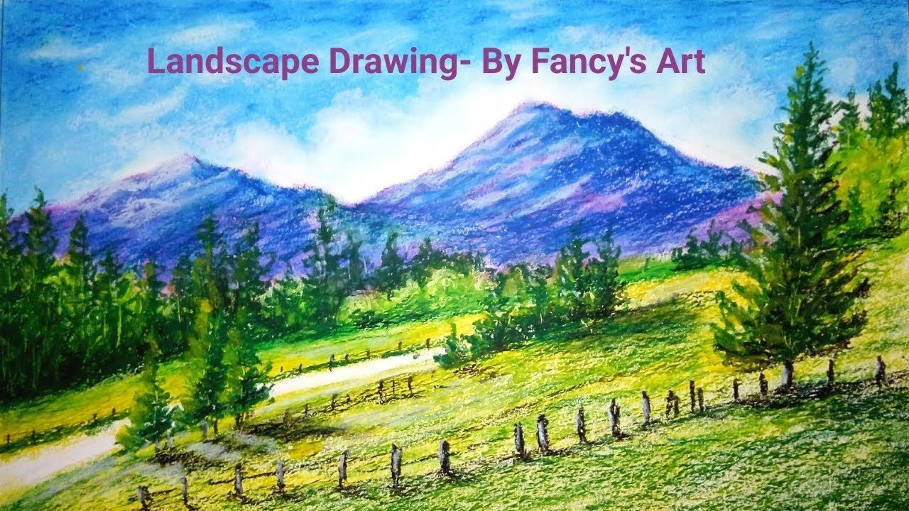 Easy Oil Pastel Drawings Step By Step Happy New Year Drawing 2020 La Landscape Drawings Oil Pastel Landscape Pastel Landscape