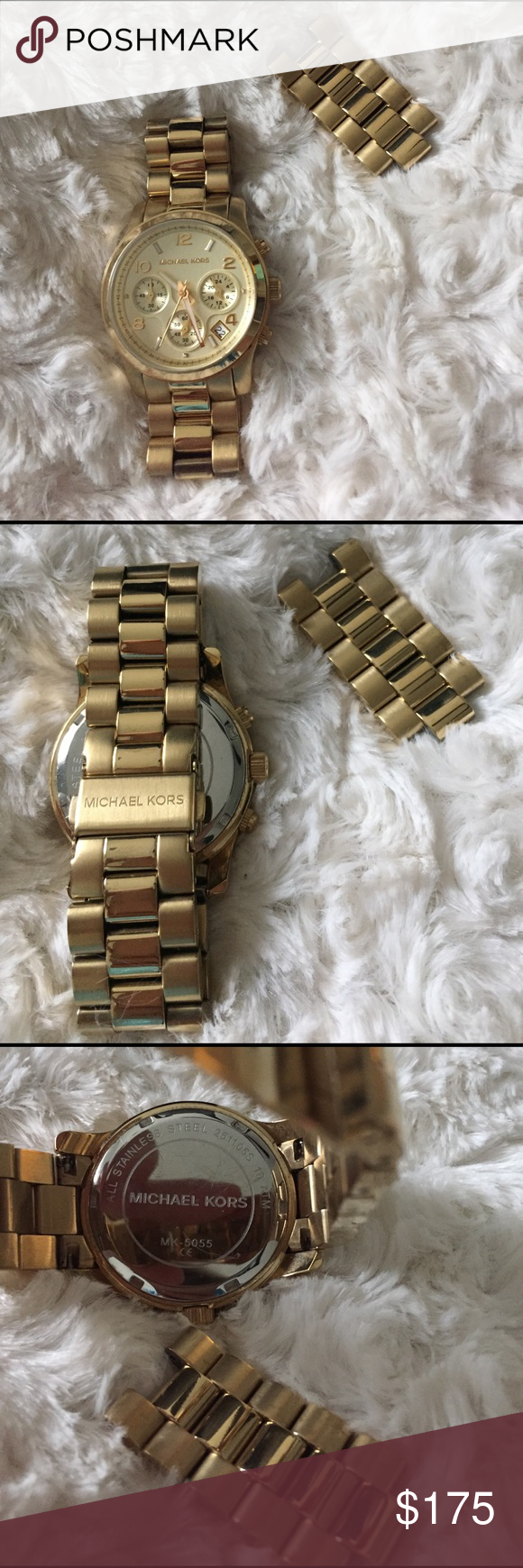 Authentic Michael Kors all stainless steel watch This is a woman's Michael Kors watch in gold stainless steel. Comes with links that were taken out. Very minimal signs of use (most underneath). Needs a new battery. KORS Michael Kors Accessories Watches