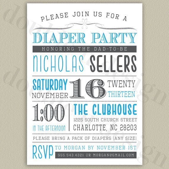 Diaper Party Invitation - Print Your Own - Digital File with Color ...