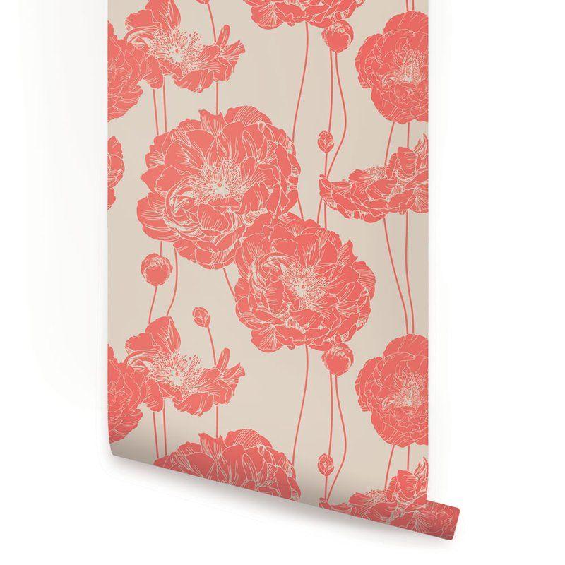 Mullen 24 W Peony Peel And Stick Wallpaper Panel Peony Wallpaper Floral Wallpaper Fabric Wallpaper