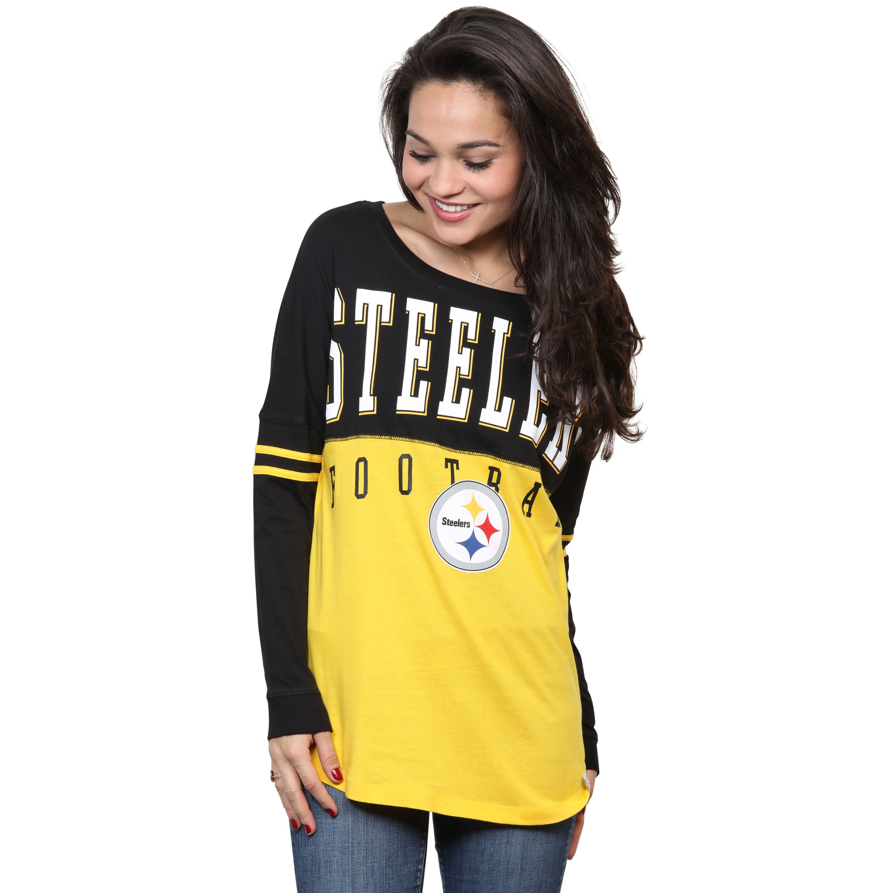 Women s Pittsburgh Steelers 5th   Ocean by New Era Gold Baby Jersey Spirit  Top Long Sleeve T-Shirt 5bbef32dc