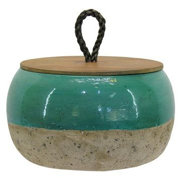 Turquoise Ceramic Vase With Lid Short Threshold Decor Blue Home Decor Home Decor