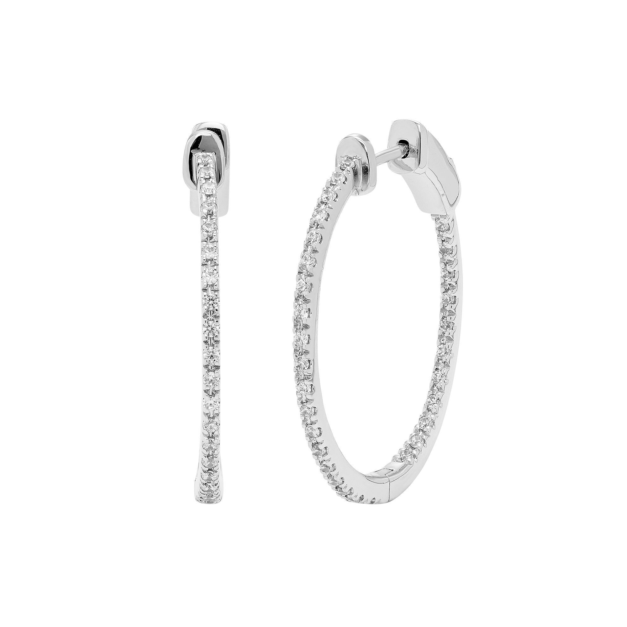 14k White Gold 1 3 Carat T W Diamond Inside Out Hoop Earrings Women S