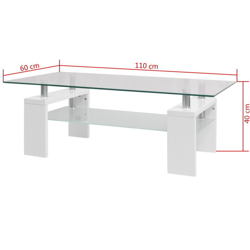 Photo of vidaXL High-Gloss Coffee Table with Lower Shelf 110x60x40 cm White