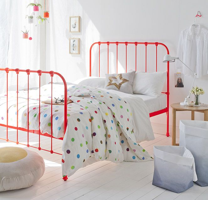 Great Kids Room White W Pops Of Color Love The Neon Iron Bed