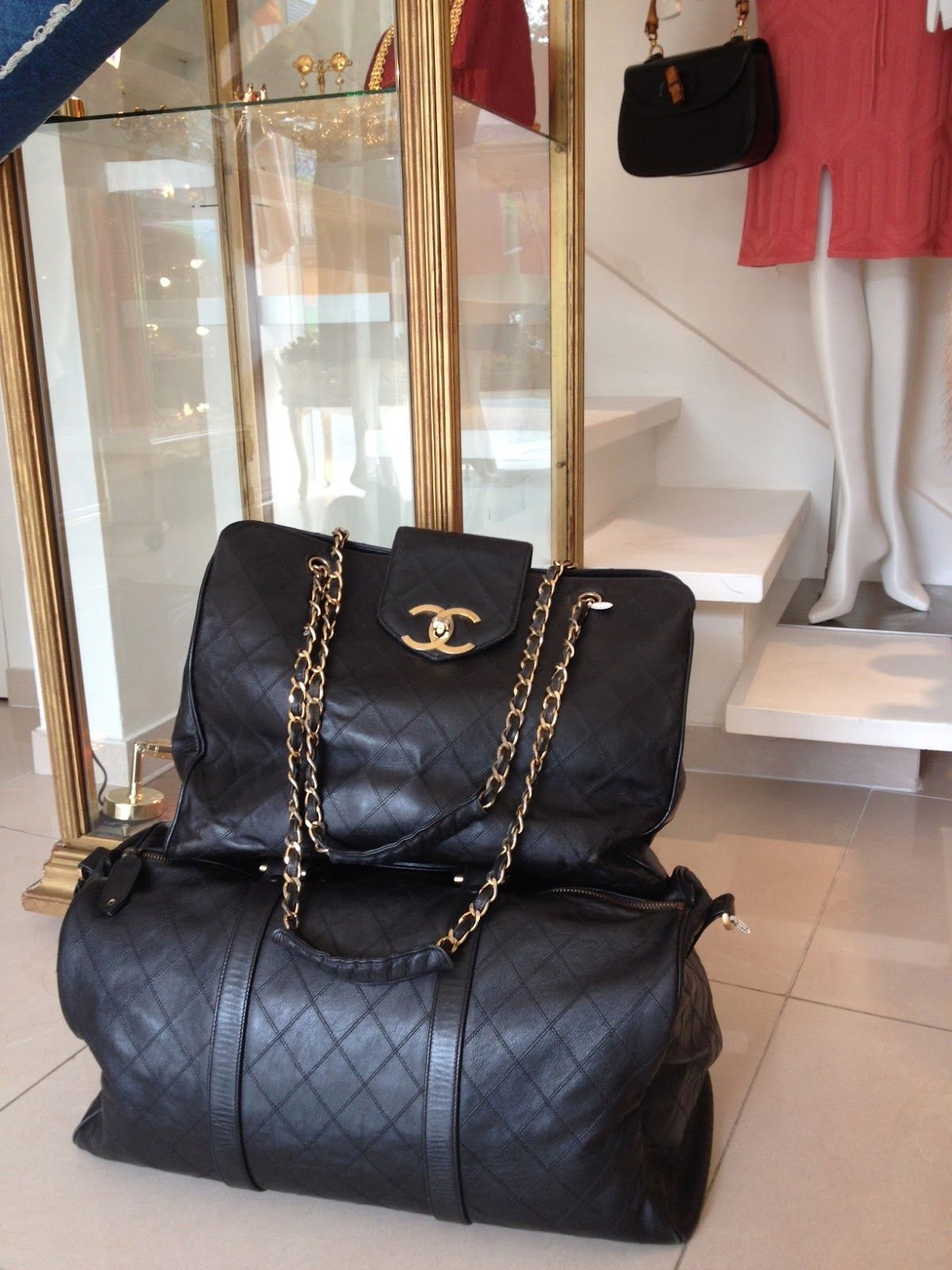 570abc207c90 Vintage Chanel Supermodel Tote & Boston Duffle Bag | Vintage Paris ...