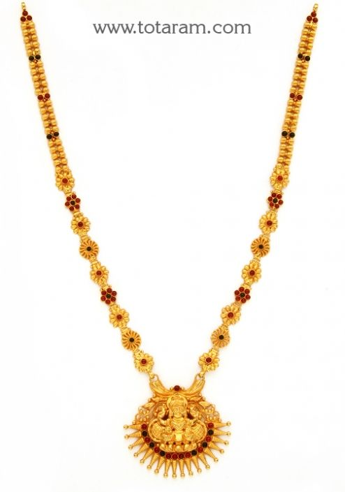 22K Gold 2 in 1 Lakshmi Long Necklace Temple Jewellery Totaram