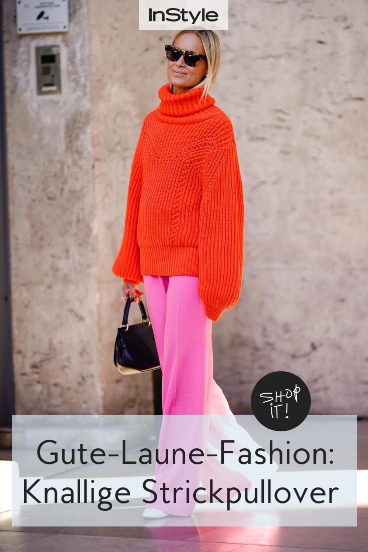 Gute-Laune-Fashion: Knallige Strickpullover vertreiben den