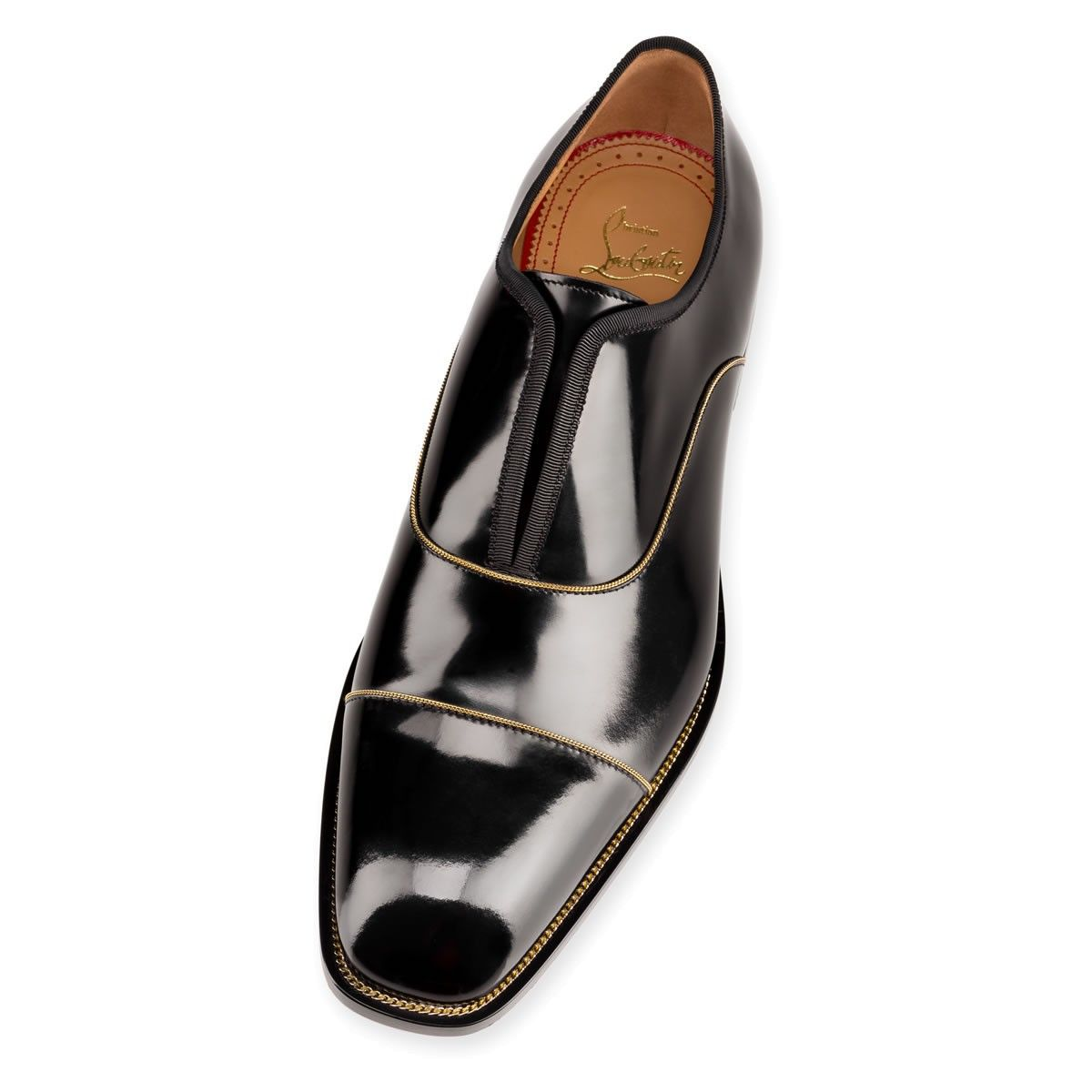 Alpha Male Chain Flat Black/Light Gold Leather - Men Shoes - Christian  Louboutin
