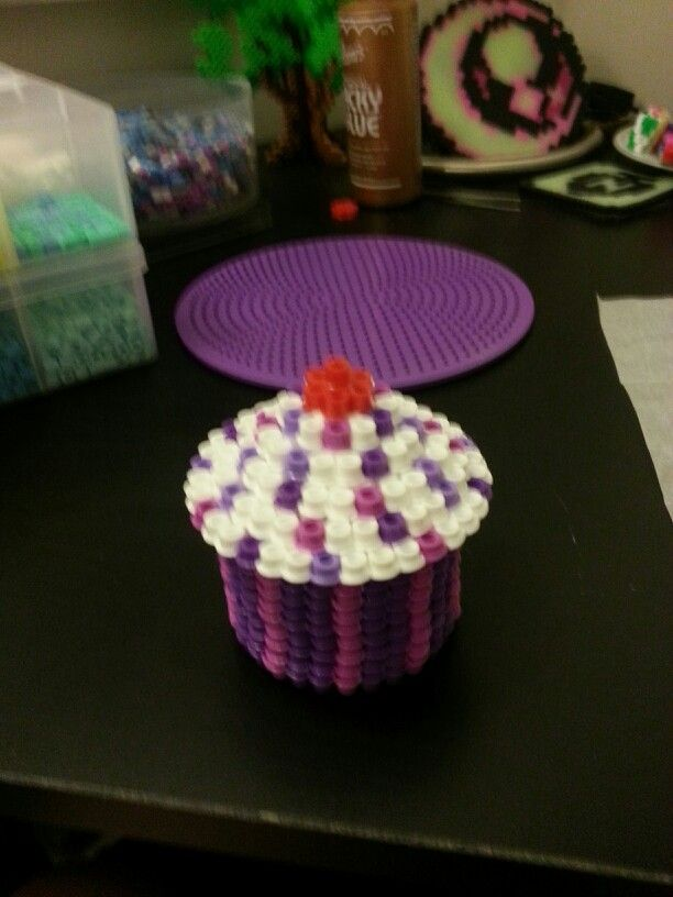 3d Cupcake Perler Perler Beads Perler Beads Hama