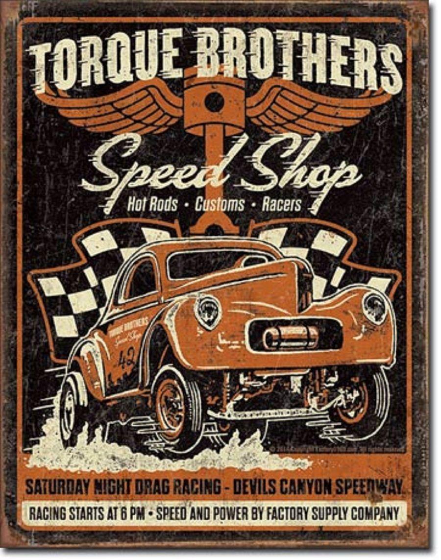 Torque brothers speed shop gasser tin sign vtg hotrod racing garage
