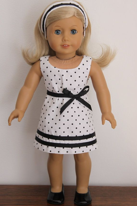 Polka Dot Sundress with Pink Bows American Girl Doll
