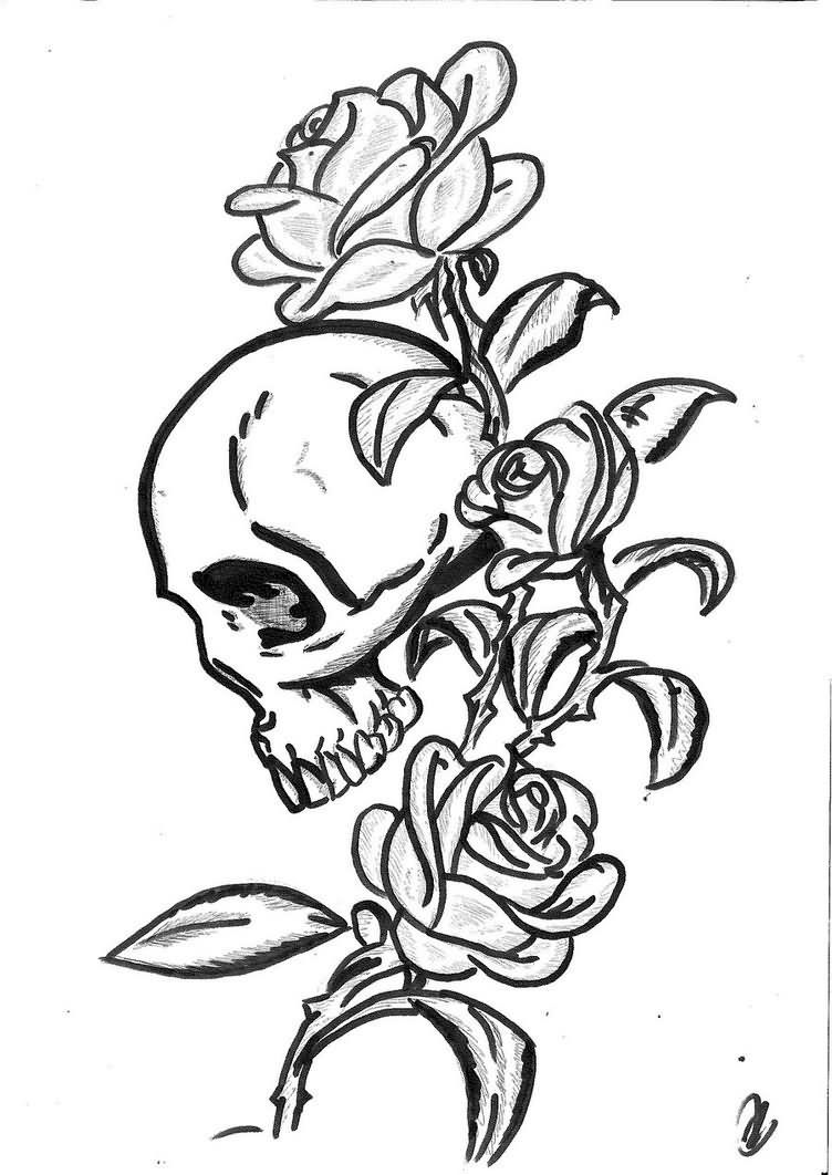 Black Outline Gothic Skull With Roses Tattoo Stencil By Mo Kheir Skulls Drawing Tattoo Stencil Outline Skull Drawing