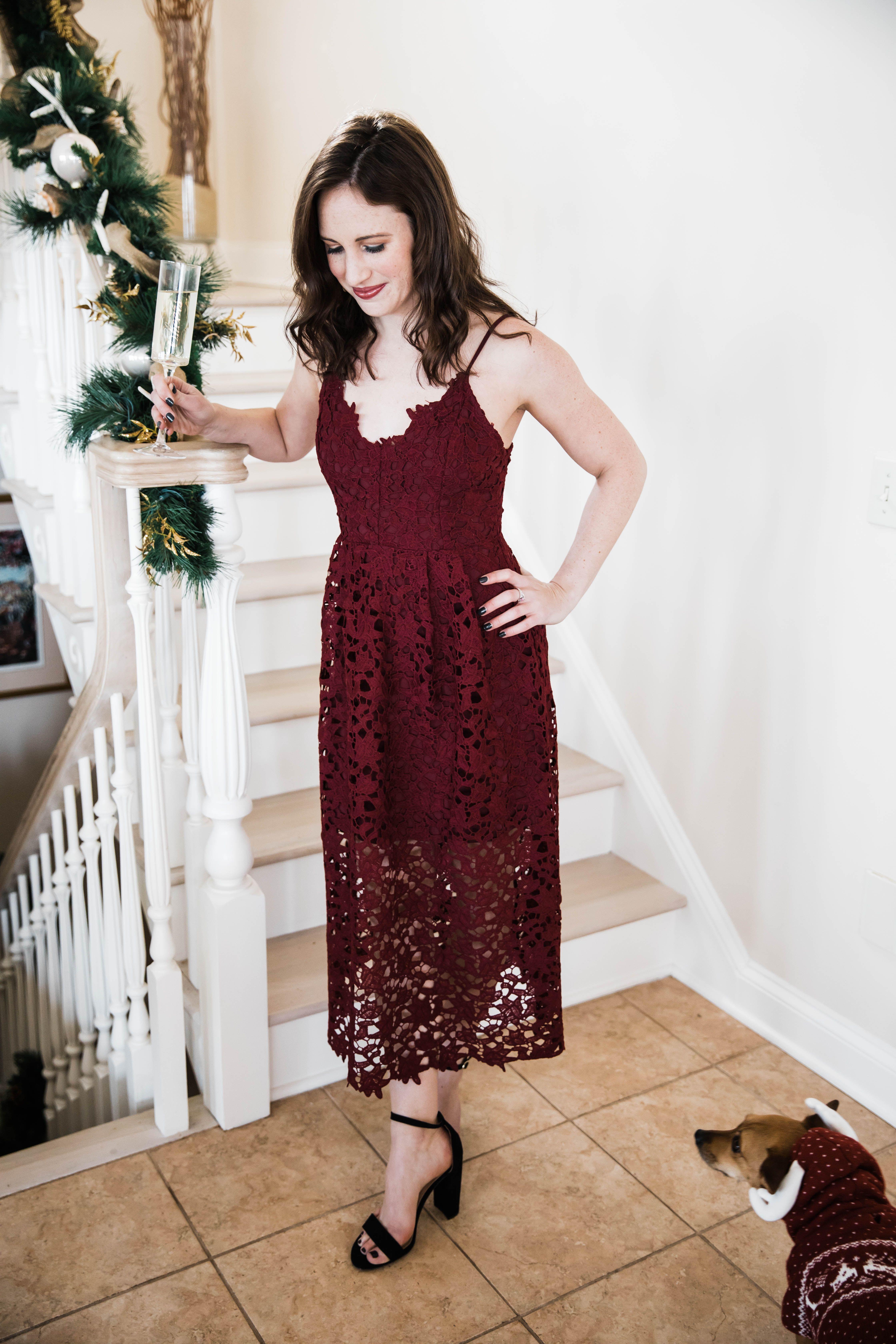 Winter Wedding Guest Dress Holiday Dress Burgundy Lace Black