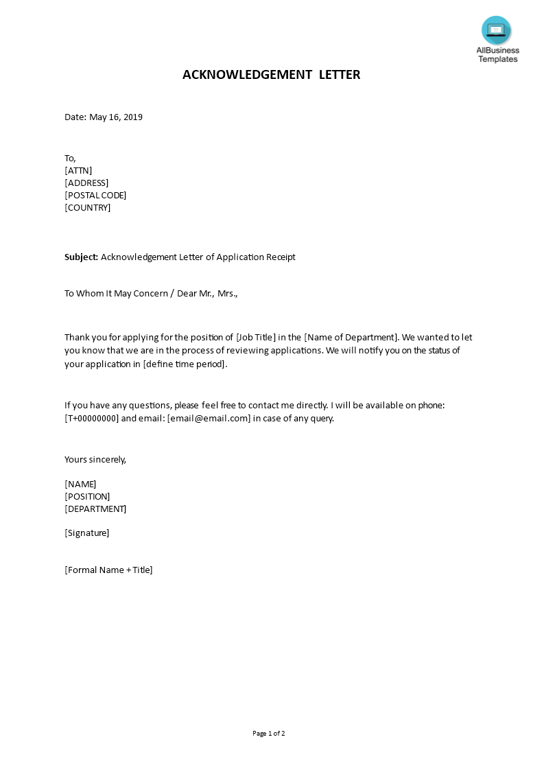 How To Write A Formal Acknowledgement Letter An Easy Way To Start Is To Download This S Business Letter Template Letter Template Word Letter Template For Kids