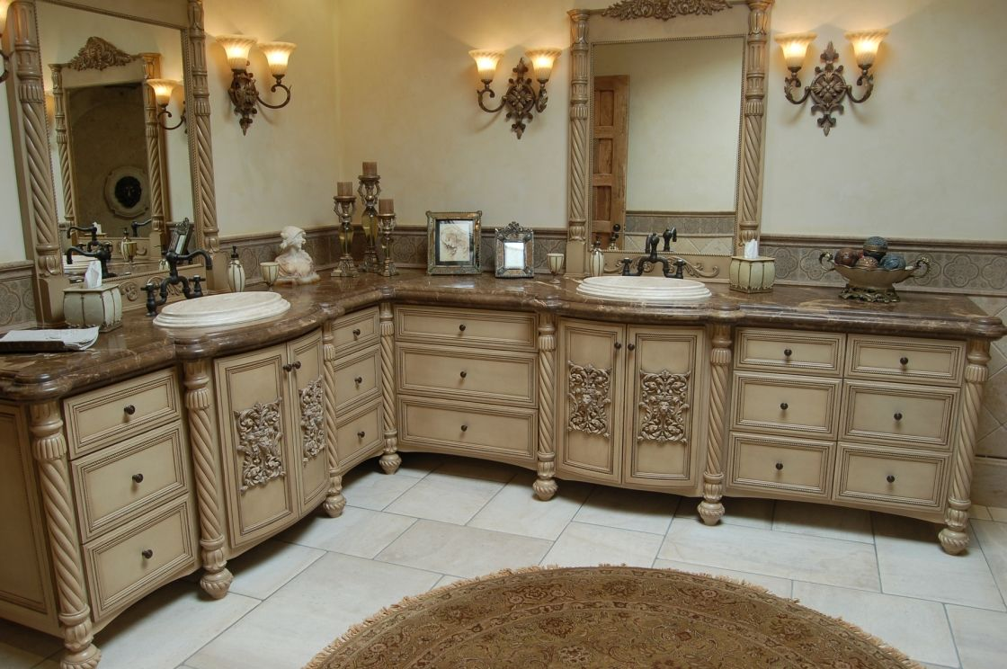 Remarkable Beige Maple L Shaped Bathroom Cabinet Ideas
