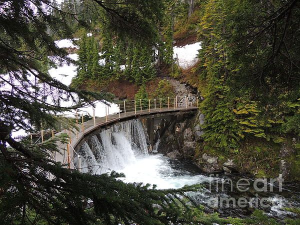 Title:  Bagley Creek Falls - Mount Baker   Artist:  Photography Moments - Sandi   Medium:  Photograph - Print - Photography