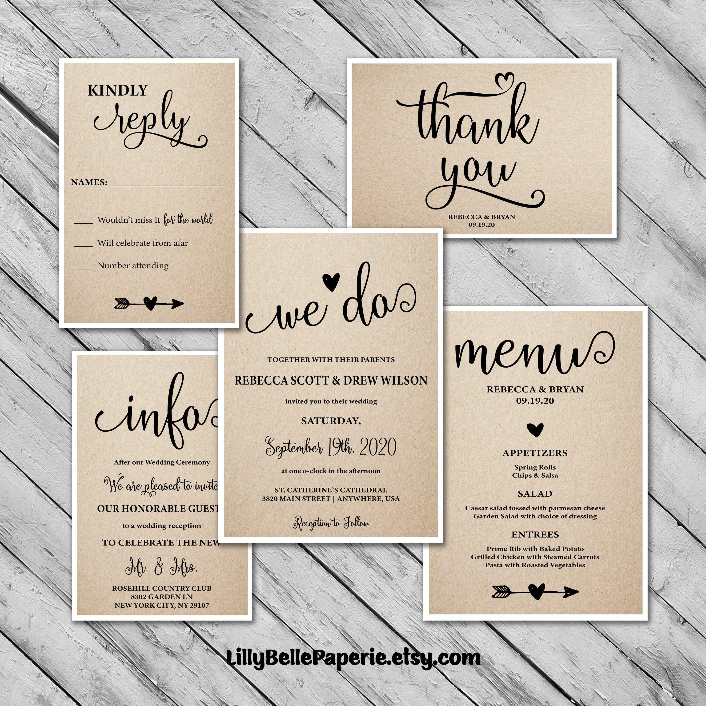 Rustic Wedding Invitations Kit Save