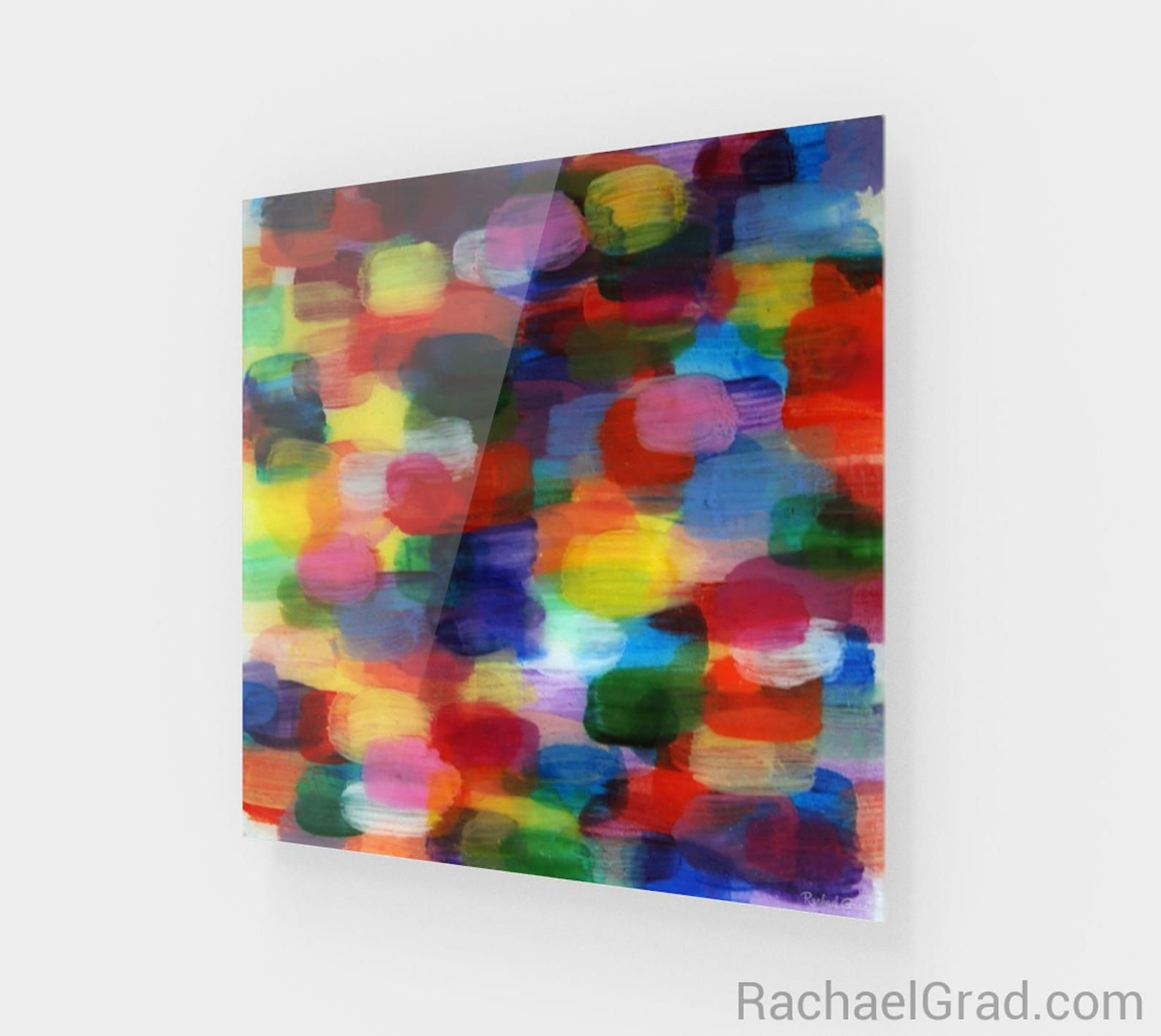 Colorful Abstract Square Wall Art Print In High Gloss Acrylic By Artist Rachael Grad Colorful Abstract Art Colorful Abstract Art Prints Red Art Print