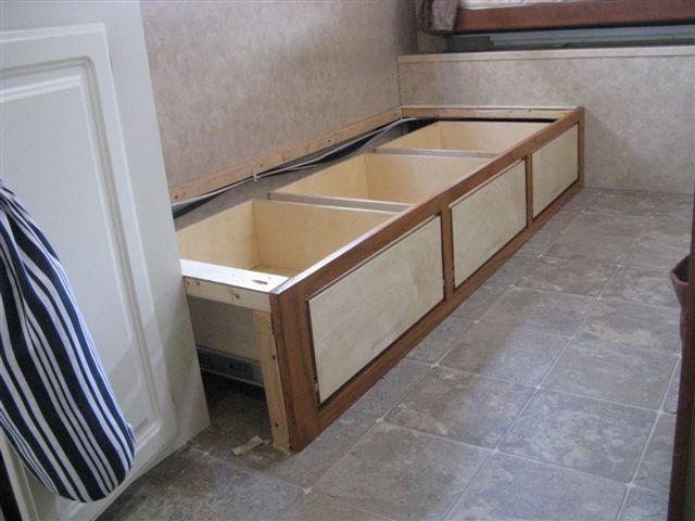 drawers under jackknife sofa in camper Great Ideas Pinterest