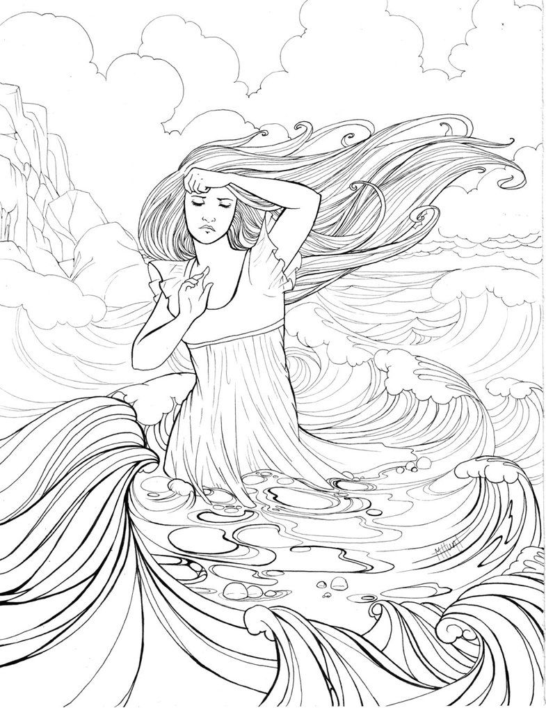 Seafoam Mermaid Coloring Pages Fairy Coloring Pages Ink Illustrations [ 1017 x 785 Pixel ]