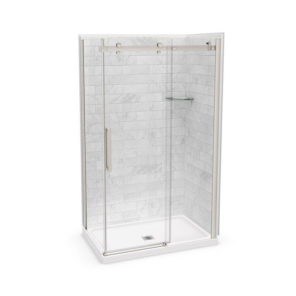 Utile 48 Inch X 32 Inch X 84 Inch Marble Carrara Corner Shower Kit