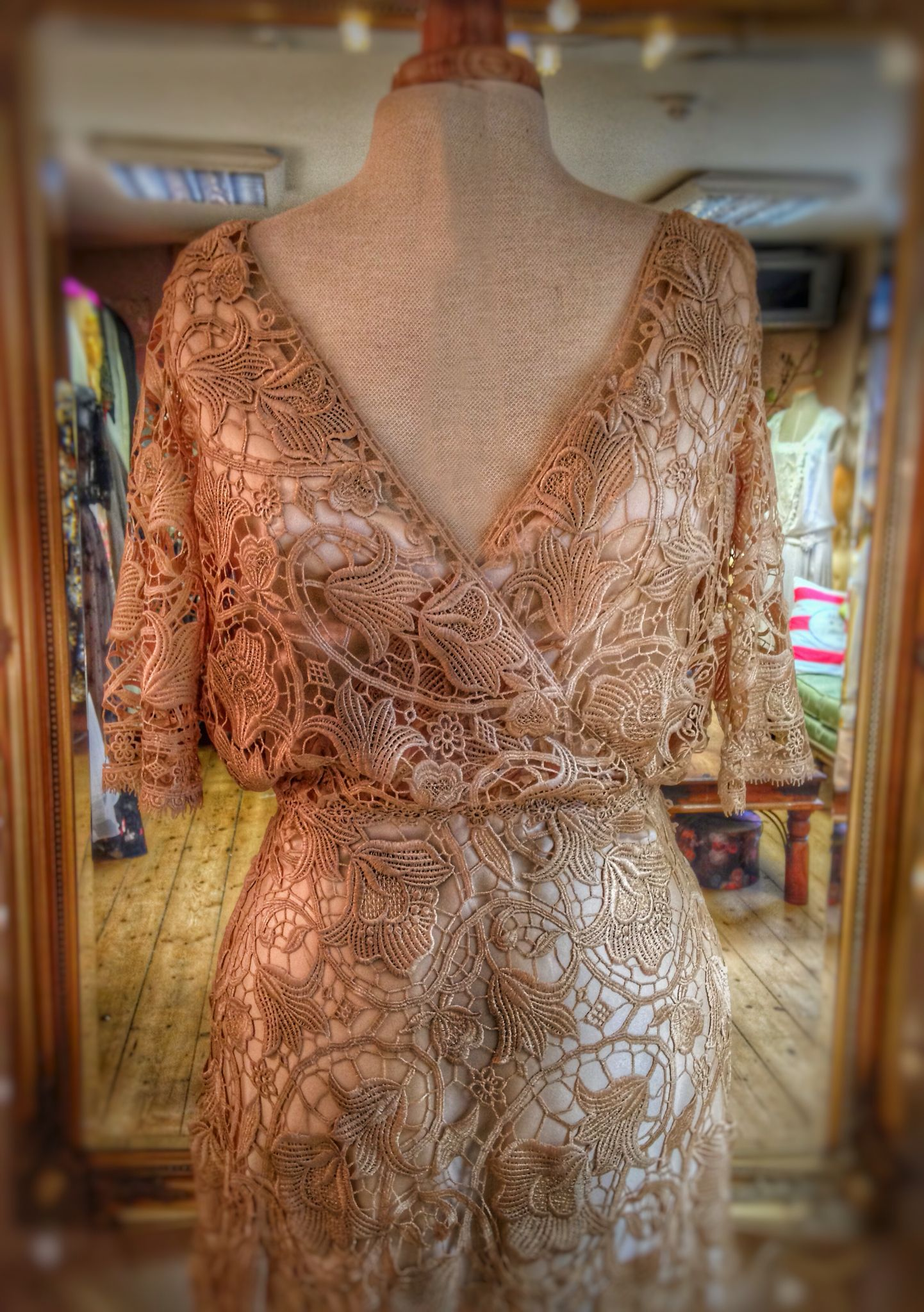 90a14fd8592 Pale gold Art Nouveau lace and silk wedding dress by Joanne Fleming Design