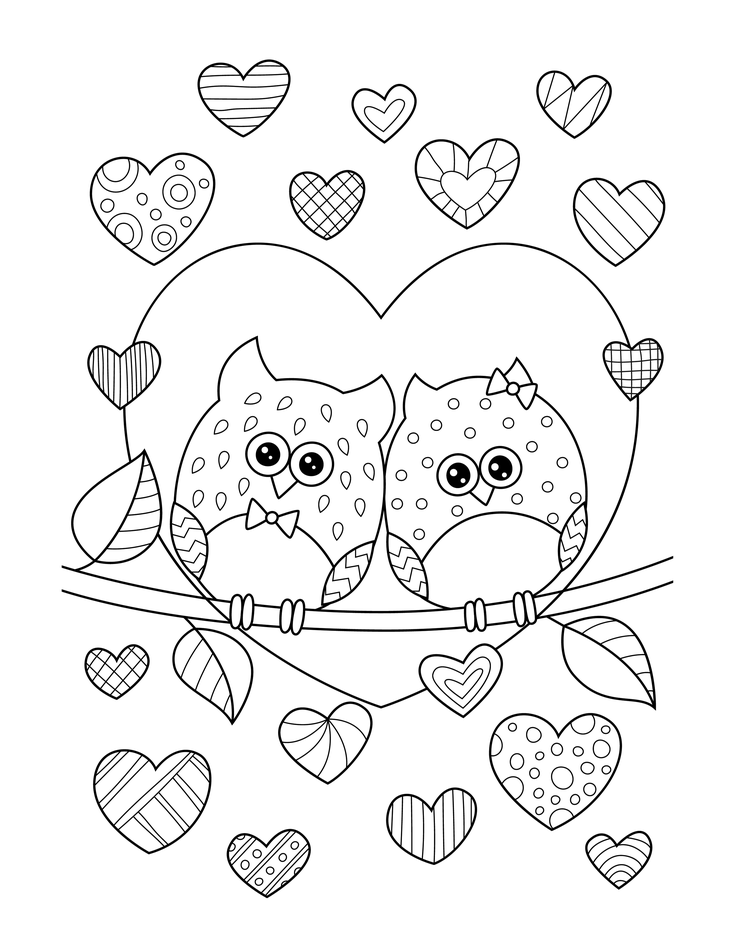 Happy Valentine S Day Coloring Book For Adults Kids 50 Etsy In 2021 Owl Coloring Pages Printable Valentines Coloring Pages Heart Coloring Pages