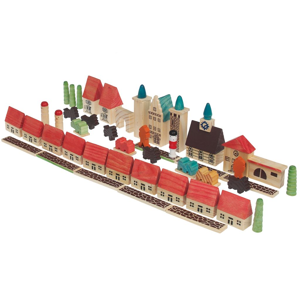Wooden Village Play Set 45 Pieces | dotcomgiftshop | Winter Sale Now On