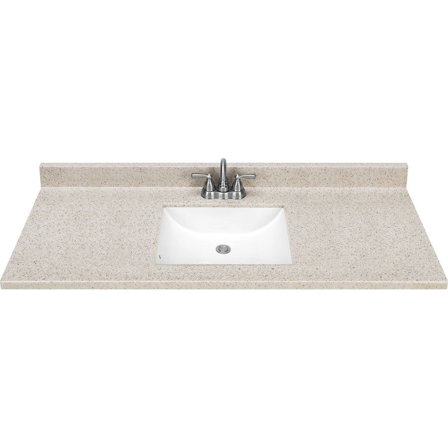Style Selections Dune Solid Surface Integral Single Sink Bathroom Vanity Top Common X Actual