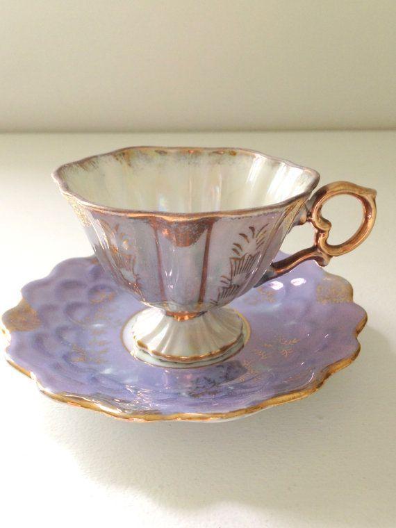 Vintage Pedestal Opalescent Demitasse Tea Cup And Saucer Lilac Etsy Tea Cups Tea Cups Vintage Vintage Tea