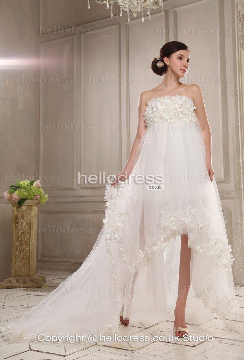 Beautiful wedding dress empire waist flower strapless for pregnant special occasion dresses wedding party dresses wedding dresses accessories in stock dresses ombrellifo Images