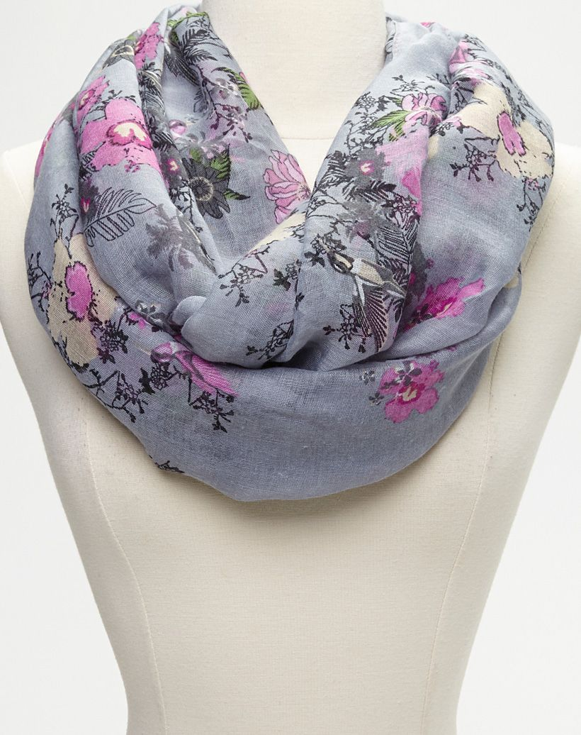 Blue & Pink Floral Infinity Scarf