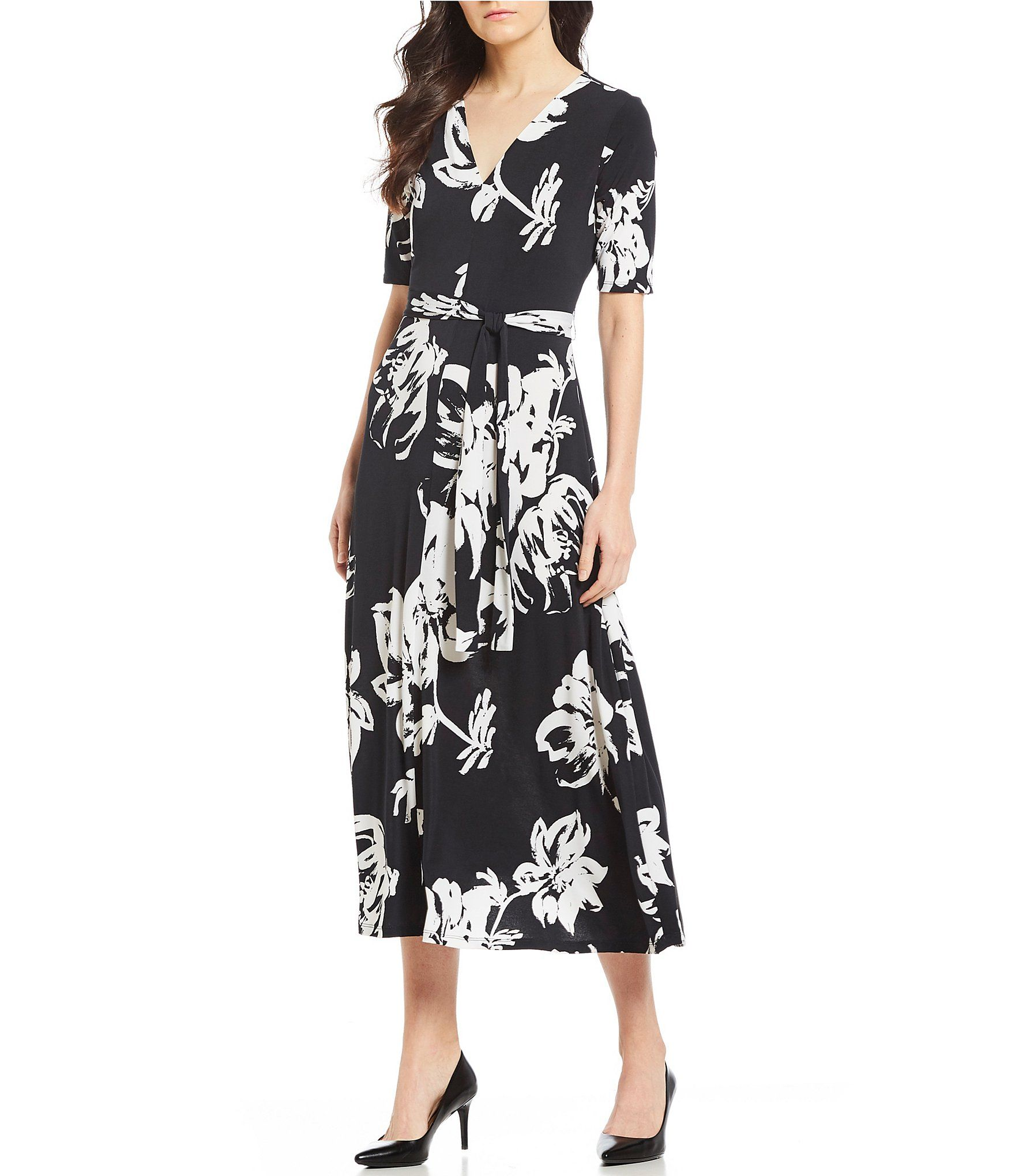 ad0be27cdd9 Preston   York Sydney Floral Print Belted Knit Midi Dress  Dillards ...