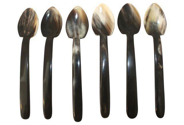Polished Horn Demitasse Spoons, S/6